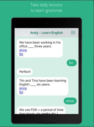 تعلم اللغة الانجليزية مع مدرسك الشخصي مع تطبيق Andy